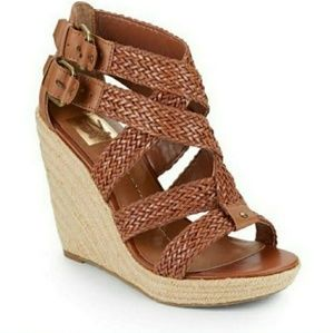Dolce Vita tan woven strappy wedge espadrilles